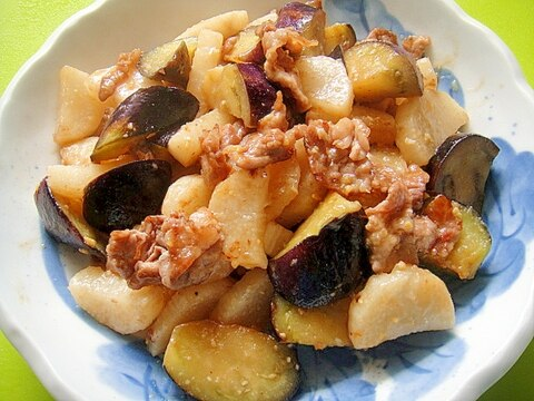 長いもと茄子豚肉の味噌炒め