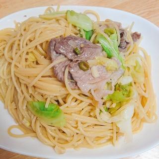 豚肉とキャベツの青唐辛子ペペロンチーノ
