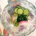 板蒲鉾、おかひじき、枝豆、胡瓜の和え物