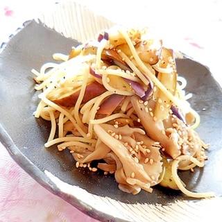 ❤茄子と舞茸のガリバタ・醤油・パスタ❤