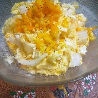 八朔の皮の酢漬けと白菜のサラダ