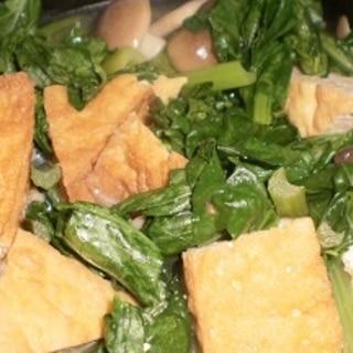 厚揚げと小松菜、しめじの煮物