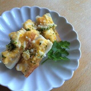 お弁当に◎卵サラダのちくわボートのせ