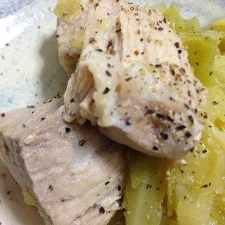キャベツと豚肉で【塩角煮】