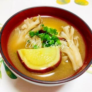 ♡簡単汁物♪秋風味♪さつまいもと舞茸の味噌汁♡