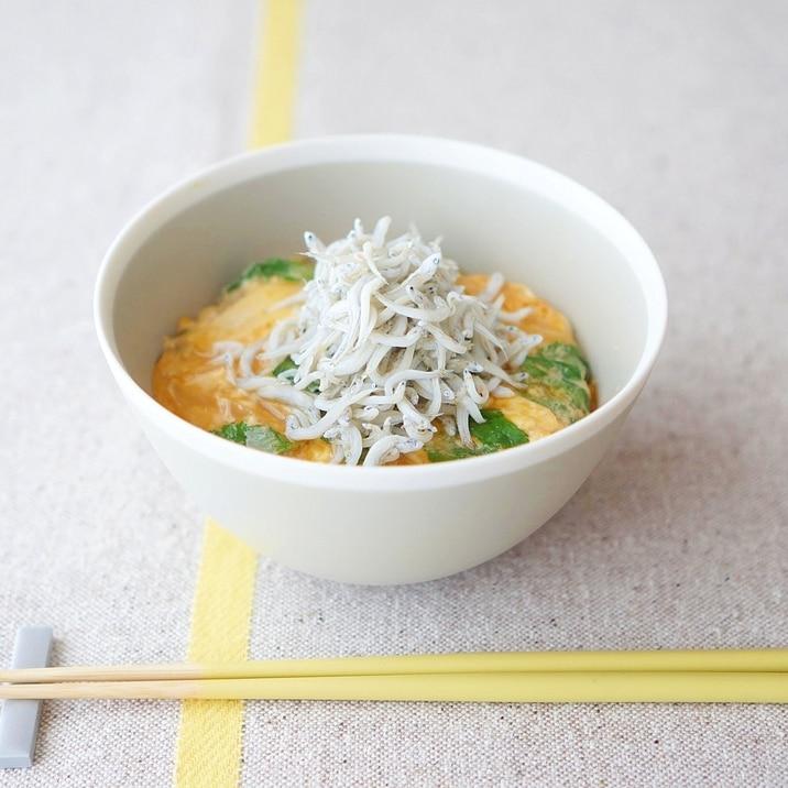 新玉葱の卵とじ しらすのせご飯