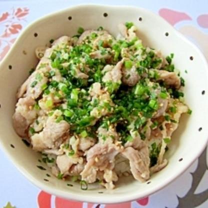 塩麹と豚こま肉でネギ塩丼☆コンビニ弁当風