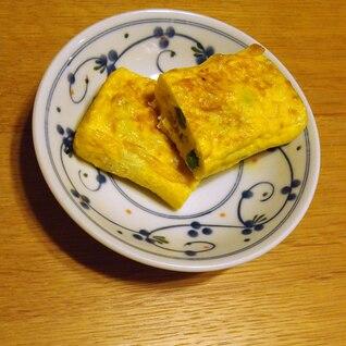 すり胡麻とヨーグルトとグリーンピースの卵焼き