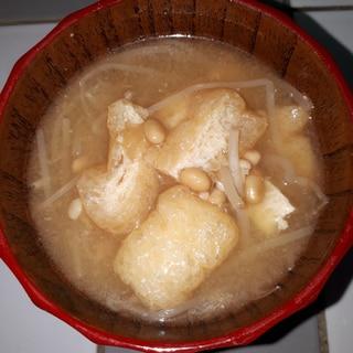 冷蔵庫にあるもので~もやし&納豆&油揚げの味噌汁