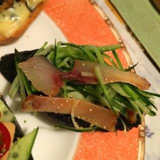 燻製さばと胡瓜マリネのおつまみカナッペ