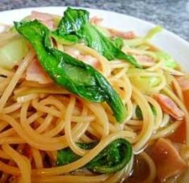 チンゲン菜とベーコンの和風パスタ