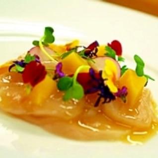 帆立貝のカルパッチョ仕立て~柚子味噌ドレッシング~