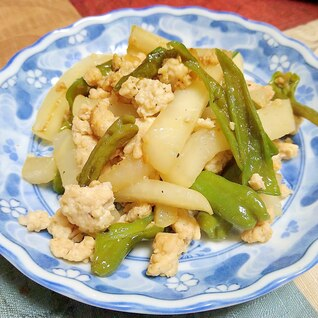 蕪と鶏ひき肉の炒めもの