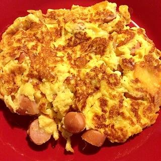 ソーセージとチーズのスクランブルエッグ