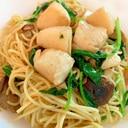 帆立とケール、生椎茸のアンチョビスパゲティ