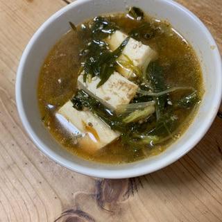 あっさり豆腐と水菜の簡単チゲスープ