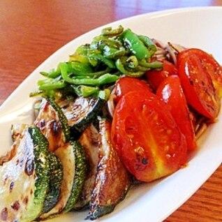 バルサミコ酢が新鮮★夏野菜のサラダ蕎麦