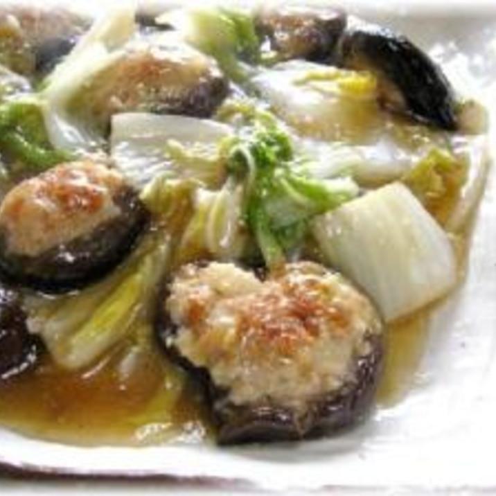 肉詰めしいたけと白菜の含め煮
