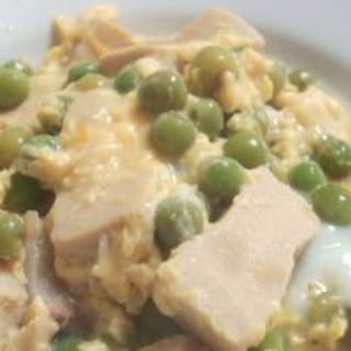 春の定番☆えんどう豆と高野豆腐の卵とじ