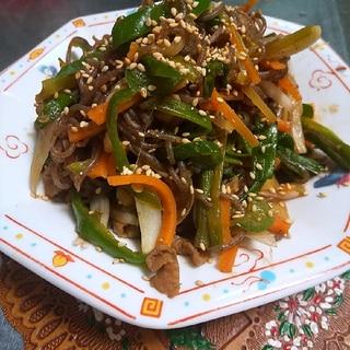 チャプチェ風★糸こんにゃくと牛肉と野菜炒め