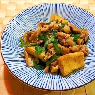 厚揚げと豚肉とニラの炒め物