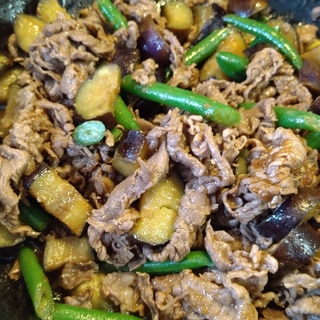 牛肉となすといんげんの炒め物