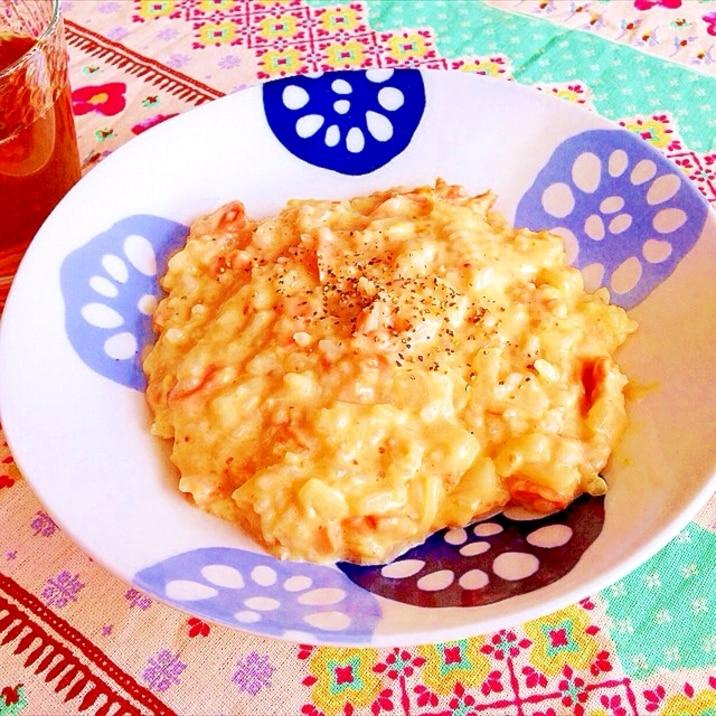 鮭の味噌豆乳リゾット