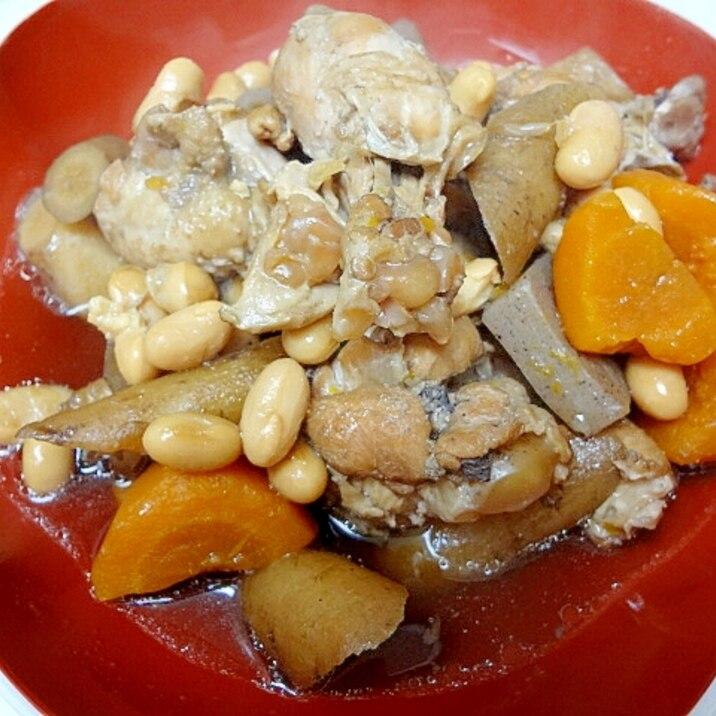 圧力鍋で手間なし☆簡単☆手羽元と根菜の煮物