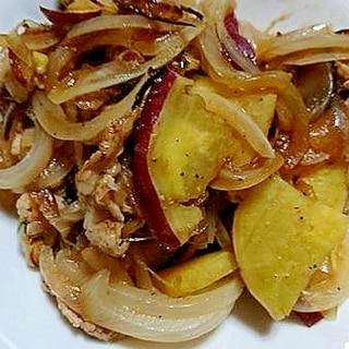 豚肉とさつま芋と玉ねぎのガーリックペッパー炒め