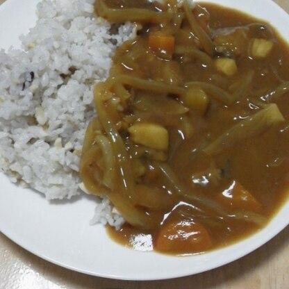 雑穀米でいただきました。
