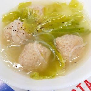 簡単!冷凍ミートボール+キャベツ+春雨のスープ♪
