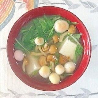 水菜、木綿豆腐、なめこ、豆麩のお味噌汁