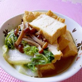 レンジで簡単♪厚揚げと白菜とブラウンえのきの煮物