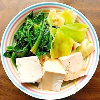豆腐とキャベツとほうれん草の湯豆腐