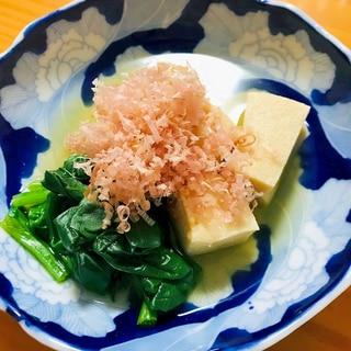 高野豆腐とほうれん草の白出汁煮