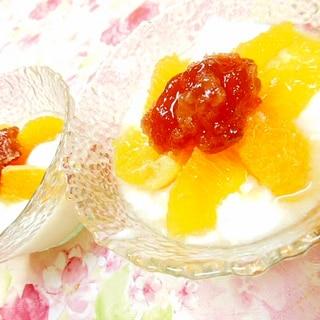 ❤プルッとババロアにイチジクジャムと柑橘を添えて❤