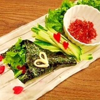 手巻き寿司☆梅かっぱわさび菜