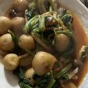 ジャガ芋と法蓮草としめじのバター醤油トマト炒め煮