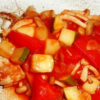 ポークソテー夏野菜のカラフルソース