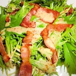 カリカリベーコンと水菜のサラダ♪