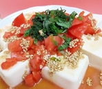 大葉トマトのごまドレ豆腐サラダ