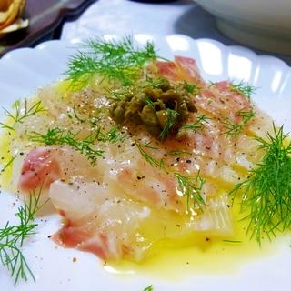 塩麹で鯛のサラダ(カルパッチョ風)