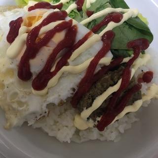 サラダ菜で彩り☆ロコモコ風(^○^)