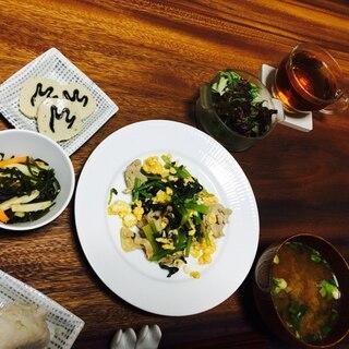 【主菜】小松菜と豚肉の卵炒め(甘め)*管理栄養士*
