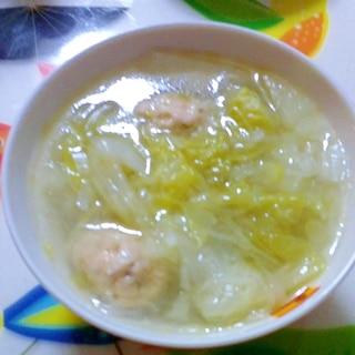 圧力鍋でつみれの中華スープ