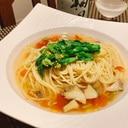 菜の花とつぶ貝の春色スープパスタ