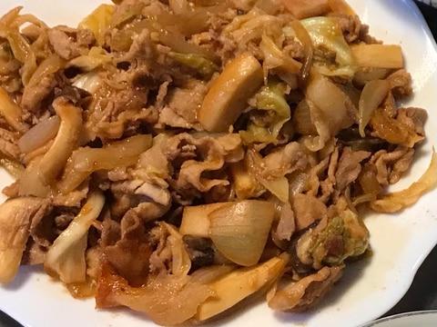 豚肉とキノコと野菜の甘辛炒め