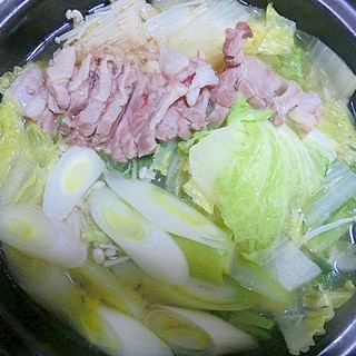 ヒガシマルのうどんスープを使った鴨鍋