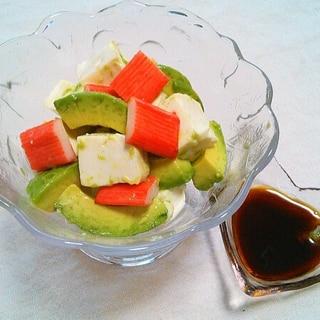 簡単おつまみ!アボカド豆腐カニカマわさび醤油がけ♡