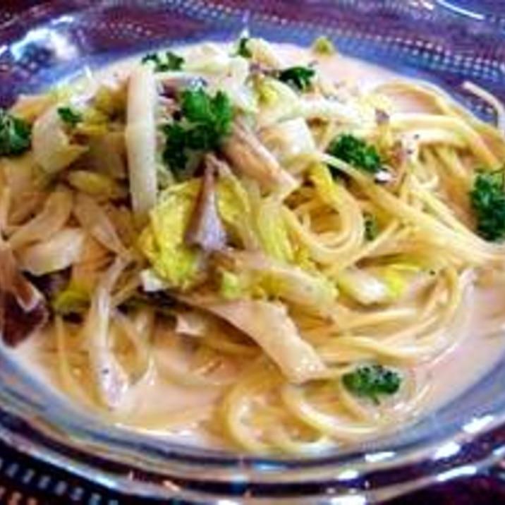白菜ホタテきのこ★クリームスパゲッティ